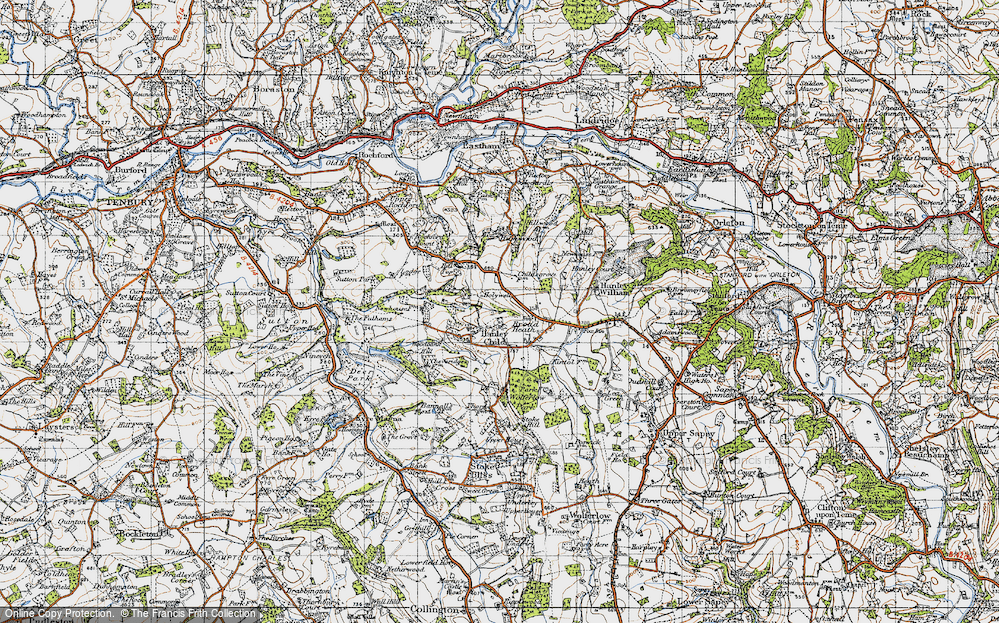 Old Map of Historic Map covering Woodbank Hill in 1947