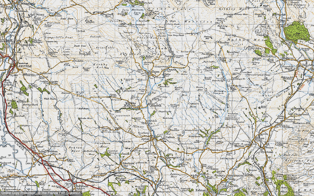 Old Map of Historic Map covering Whetstone Gill in 1947