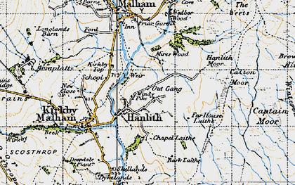 Old map of Winterburn Moor in 1947