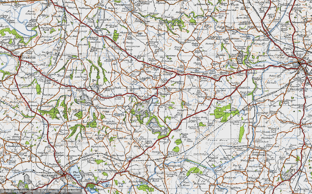 Old Map of Hanmer, 1947 in 1947