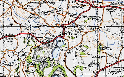 Old map of Hanmer in 1947