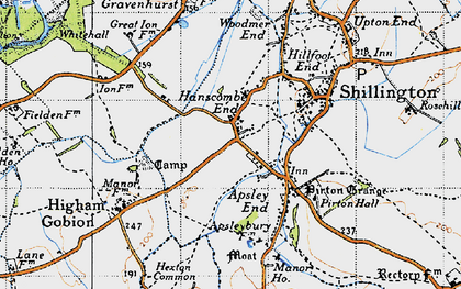 Old map of Hanscombe End in 1946