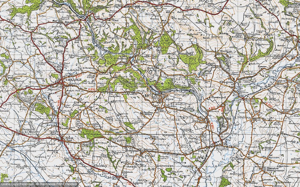 Old Map of Historic Map covering Alton Common in 1946