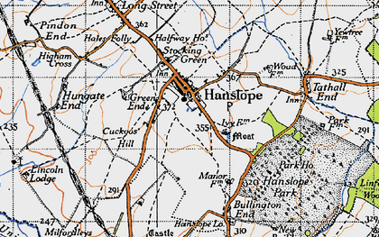 Old map of Hanslope in 1946