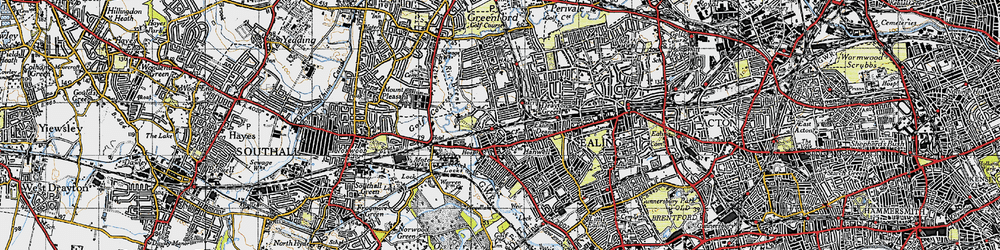 Old map of Hanwell in 1945