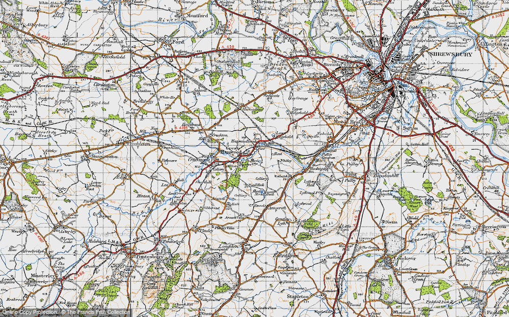 Old Map of Hanwood, 1947 in 1947