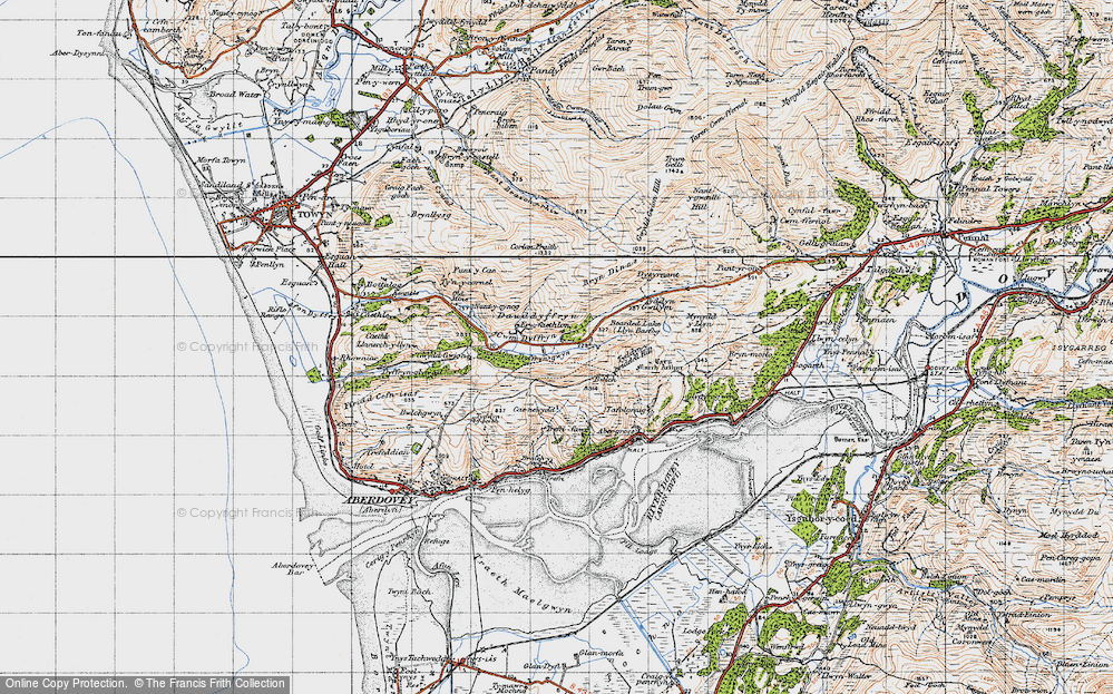 Old Map of Historic Map covering Allt Gwyddgwion in 1947
