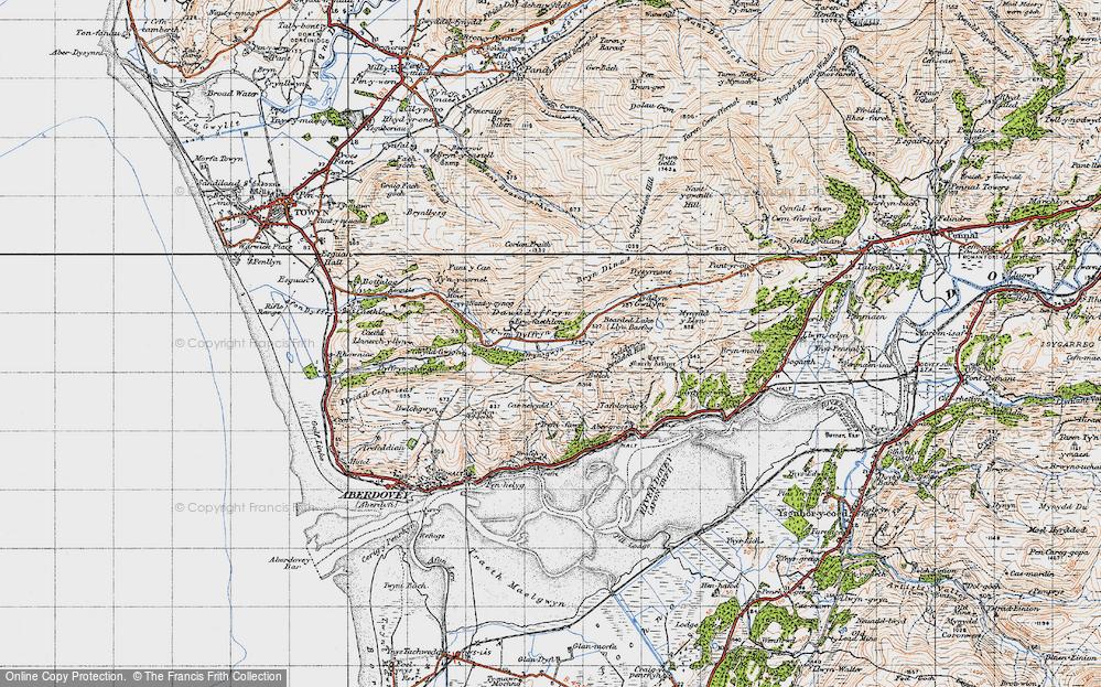 Old Map of Historic Map covering Afon Dyffryn-gwyn in 1947