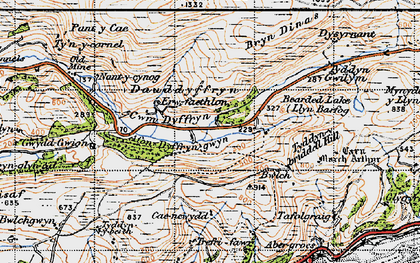 Old map of Allt Gwyddgwion in 1947