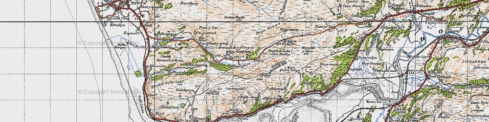 Old map of Afon Dyffryn-gwyn in 1947