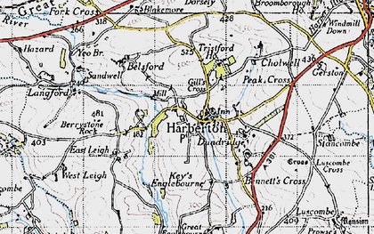 Old map of Harberton in 1946