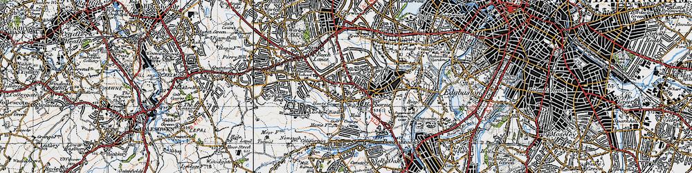 Old map of Harborne in 1947