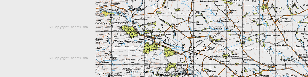 Old map of Harbottle in 1947