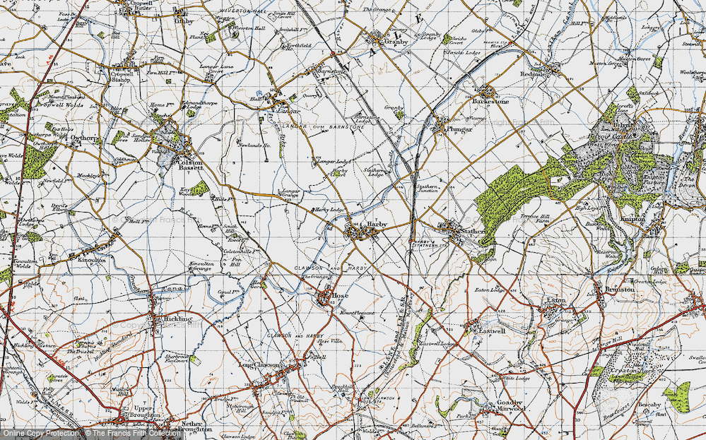 Old Map of Historic Map covering Langar Lodge in 1946