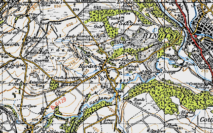 Old map of Harden in 1947