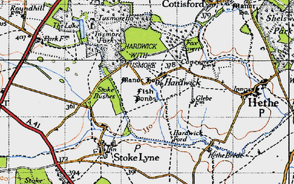 Old map of Lime Kiln Hovel in 1946