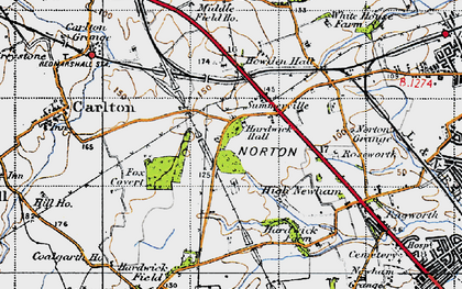 Old map of Hardwick in 1947