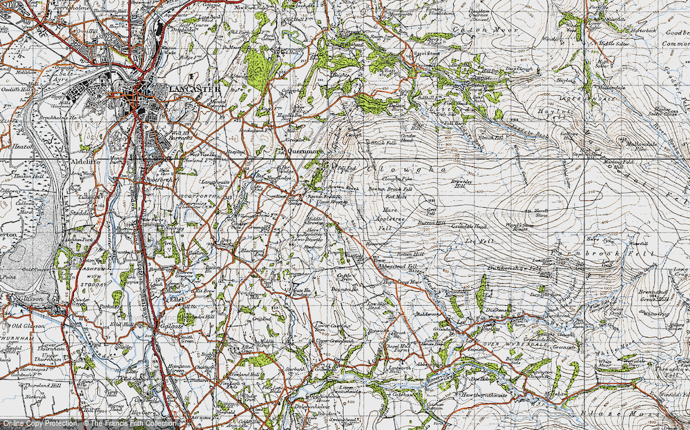 Old Map of Historic Map covering Abbeystead Fell in 1947