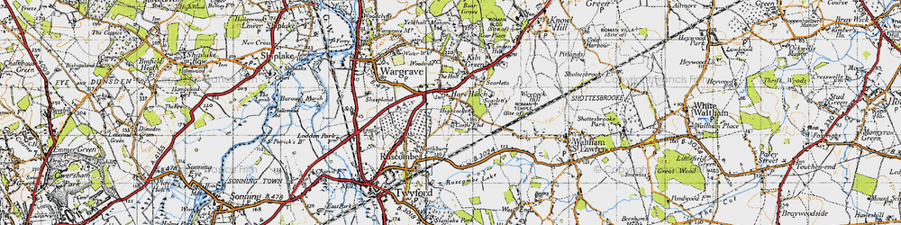 Old map of Hare Hatch in 1947