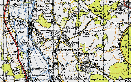Old map of Harefield in 1945