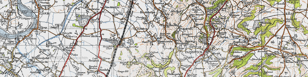 Old map of Harescombe in 1946