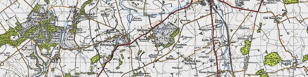 Old map of Harlaxton in 1946