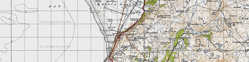 Old map of Harlech in 1947