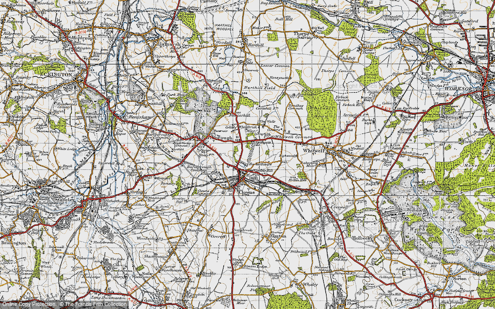 Old Map of Historic Map covering Whitebrick Moor in 1947