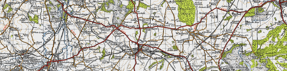 Old map of Whitebrick Moor in 1947
