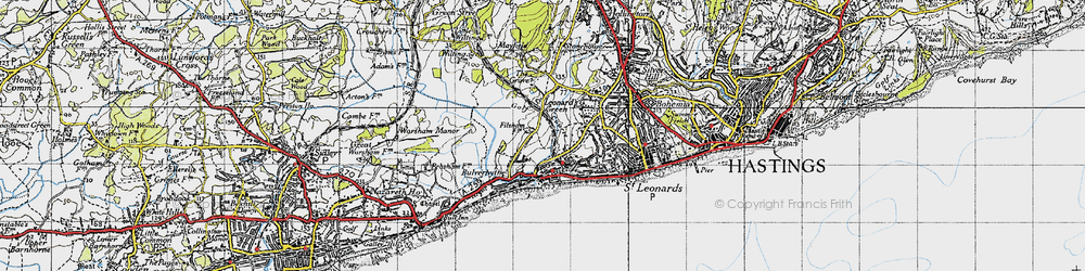Old map of West St Leonards Sta in 1940