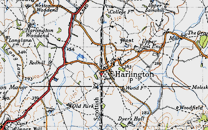 Old map of Harlington in 1946