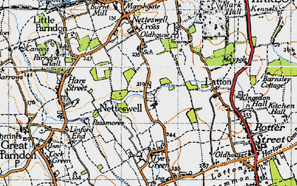 Old map of Harlow in 1946
