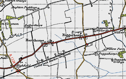 Old map of Aughton Ruddings Grange in 1947