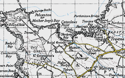 Old map of Harlyn Bay in 1946
