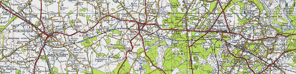 Old map of Harmans Water in 1940