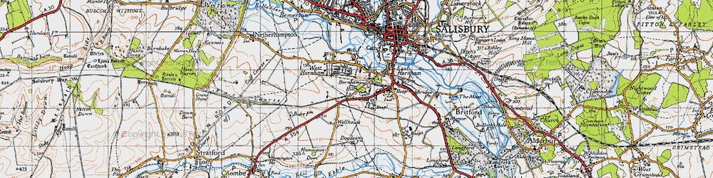 Old map of Harnham in 1940