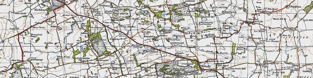 Old map of Toft Hill in 1947