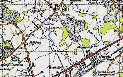 Old map of Harold Hill in 1946
