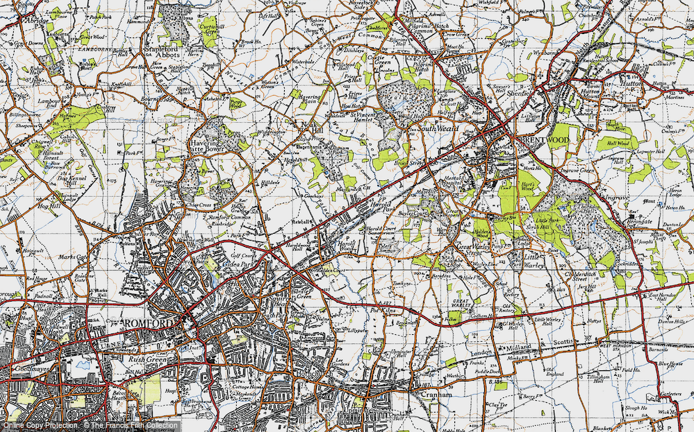Old Map of Historic Map covering Tylers Common in 1946