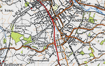 Old map of Harpenden Common in 1946