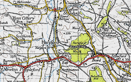 Old map of Harpford in 1946