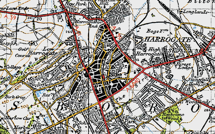 Old map of Harrogate in 1947