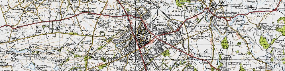 Old map of Harrogate in 1947