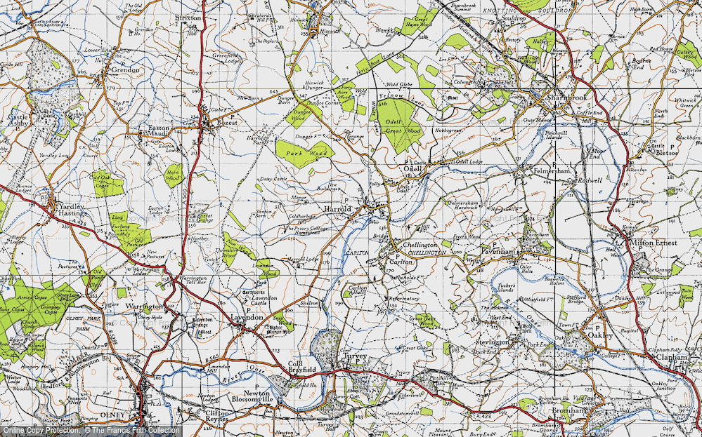 Old Map of Historic Map covering Lavendon Wood in 1946