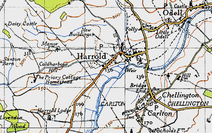 Old map of Harrold in 1946