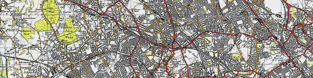 Old map of Harrow in 1945