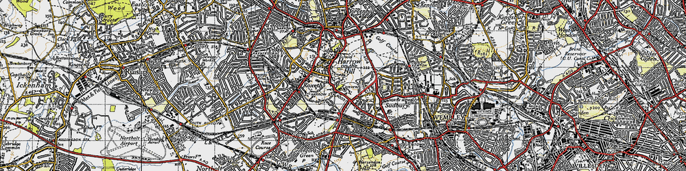 Old map of Harrow on the Hill in 1945