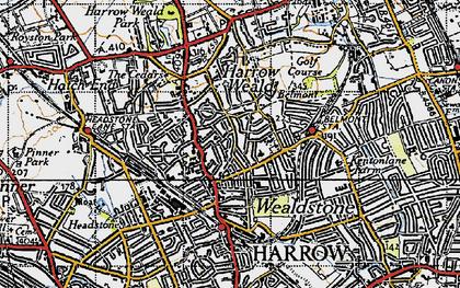 Old map of Harrow Weald in 1945