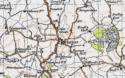 Old map of Hartest in 1946