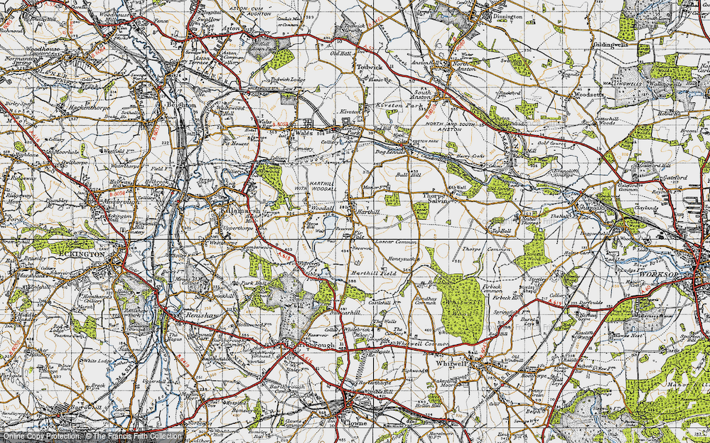 Old Map of Historic Map covering Woodall in 1947